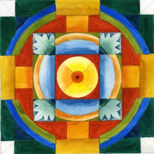 """Mandala 0211 Gouache 7"""" x 7"""""""