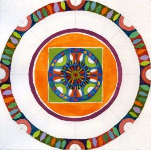 """Mandala 040710 Gouache 7"""" x 7"""" '"""