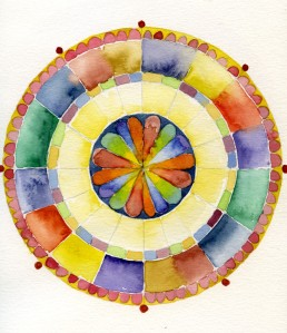 "Mandala 083105 Watercolor 7"" x 7"""